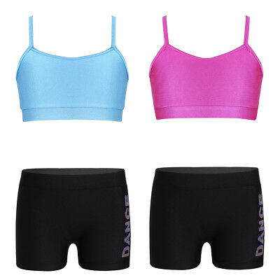 Kinder Trainingsanzug Ballettanzug Sportanzug Zweiteiler Gym Top mit Shorts Set
