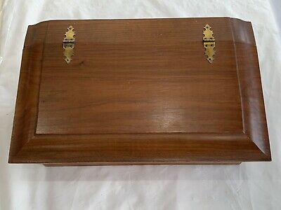 Vintage Walnut Jewelry Document Box Trunk Chest Hand Made