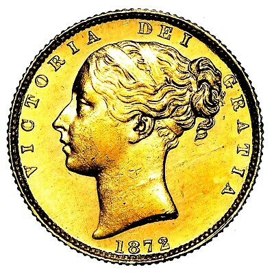 1872 Queen Victoria Great Britain London Mint Gold Sovereign Coin