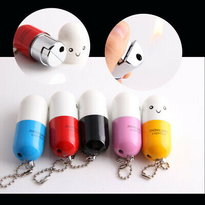 Cute Capsule Shape Cigarette Regular Flame Butane Gas Refillable Cigar Lighter