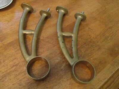 2 ANTIQUE BRASS ORNATE CURTAIN ROD Holder Brackets 10 INCH