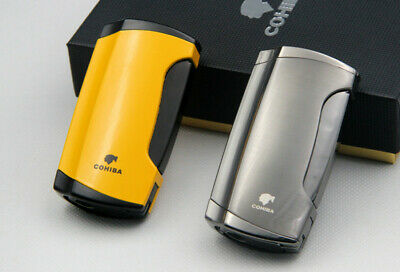 COHIBA Metal Windproof 2 Jet Torch Cigar Cigarette Lighters With Cigar Punch