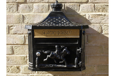 Antique / Victorian Style Black Cast Aluminium Wall Mounted Post Mail Letter Box