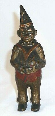 Antique Cast Iron Still Bank Clown in Pointed Hat Gold & Red Colors AC Williams