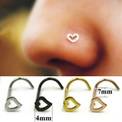 316L Surgical Steel Nose Stud Pin Love Heart Screw Nose Studs Piercing Gift UK