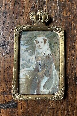 Antique Early 19th Century Miniature Portrait Painting Mary Queen Of Scots