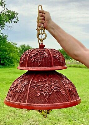 Vtg Antique Chinese Carved Lacquer Cinnabar hanging 8 light fixture chandelier