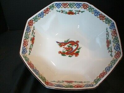 "Antique Chinese Octagonal Dragon Flowers Large Bowl 9"" Wide 3 3/8"" Deep Marked"