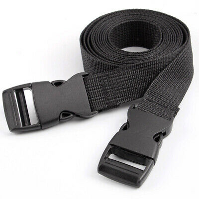 2Pcs Adjustable Nylon Travel Camping Luggage Bind Band Strap Accessories black