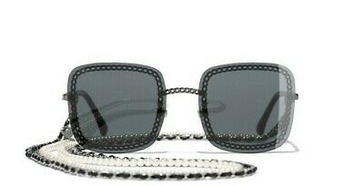 8ccba96cc782 CHANEL 4244 Square Gray/Dark Silver Pearl with Chain Sunglasses %100  Authentic