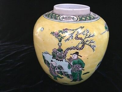 """Antique Chinese Qing 19thC yellow ground famille verte 7"""" porcelain pntd vase"""
