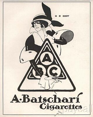 1913 Vintage Art Deco Print Ad A. Batschari Cigarettes Fashionable Girl