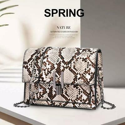 Women Snake Skin Print Style Shoulder Bag Ladies Leather Chain CrossBody Handbag