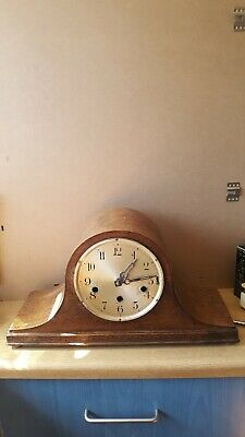 Antique Napoleon Hat mantel clock with Key.Workin.Chimes.Needs attention.No glas