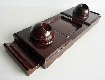 VERY RARE OLD 1930's ART DECO BAKELITE DESKSTAND / INKWELL SET - MADE IN FRANCE