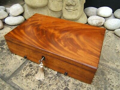 TERRIFIC 19c MAHOGANY ANTIQUE ARTIST - DOCUMENT BOX - FAB INTERIOR