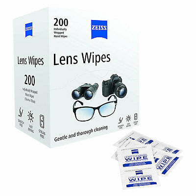 Zeiss 200 Lens Wipes Sachets Cleans Optical Surfaces Screens Gentle Thorough