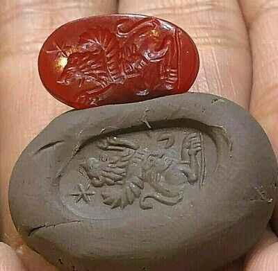 Antique Red Carnelian Amazing intaglio Greek Roaring Flying Lion  Stamp Signet