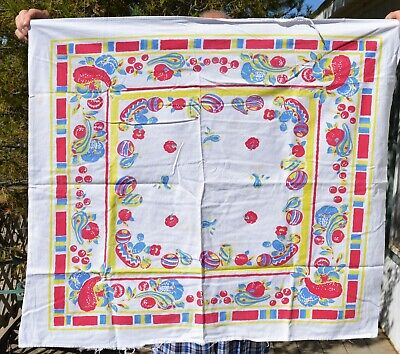VTG Printed 35x30 Tablecloth Red Blue Yellow Stylized Fruits Vegetables CUTTER