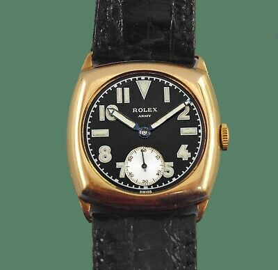 Vintage 1930's  ROLEX  Solid Rose Gold California Military Dial  Army Watch