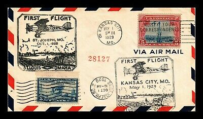 Dr Jim Stamps Us Kansas City Registered First Flight Air Mail Cover Backstamps