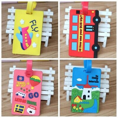 2 PCS Travel Luggage Bag Tag Name Address ID Label Rubber Suitcase Baggage Tags