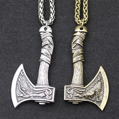 Vintage Norse Viking Axe Necklace Pendant Mens Amulet Wolf Steel Chain Two Sides