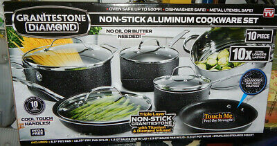 Granite Stone 10-piece Nonstick Scratch Proof Cookware Set Dishwasher Safe New