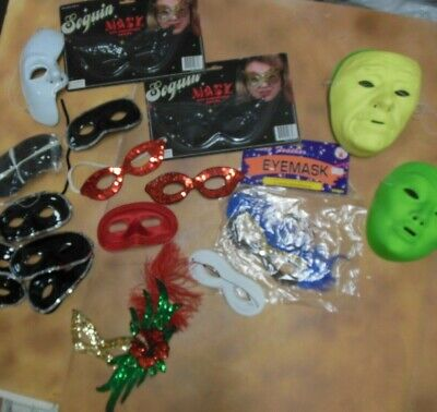 Lot of Plastic and Sequin Masks many colors and styles 32 pieces