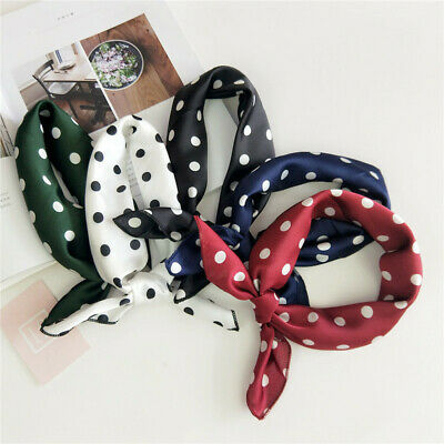 Ladies Square Silk Feel Satin Scarf Small Vintage Head Neckerchief Hair Tie Band