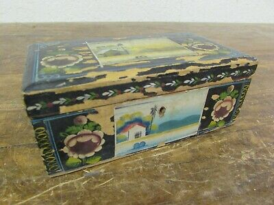 Antique Olinala Box #1-Old Mexican-Wood-7Wx3.5Dx2.5H-Vintage-Jewelry Box