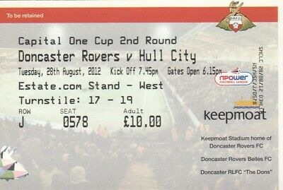 Ticket - Doncaster Rovers v Hull City 28.08.12 League Cup