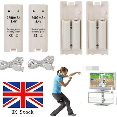 UK 4X For Wii Remote Controller Rechargeable Batteries & Charger Black White UWB