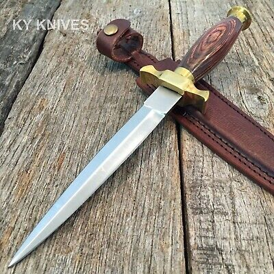 "10.5"" Wood Brass Medieval Renaissance Fantasy Dagger Sword hunting knife -W"