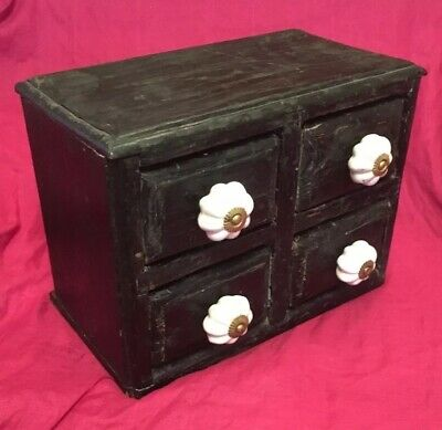 Antique Ebonised Effect Apothecary Style Drawer Chest