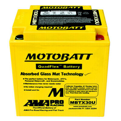 MotoBatt AGM Battery Replaces Y30CLB Y60N30LA Y60N30LB 53030