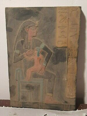 Rare Antique Ancient Egyptian Stela God Isis God Horus Health Cure 1750-1640B