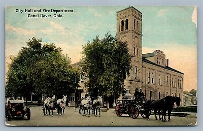 Canal Dover Oh Fire Department & City Hall 1912 Antique Postcard