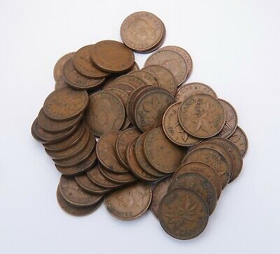 1948 Canadian George VI One Cent Penny Roll of 50 BU Coins