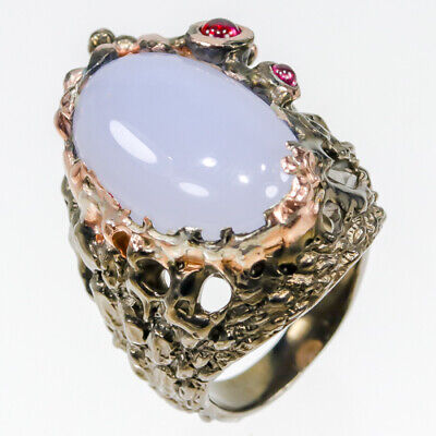 Unique Jewelry 28ct+ Natural Chalcedony 925 Sterling Silver Ring Size 6.5/R27920