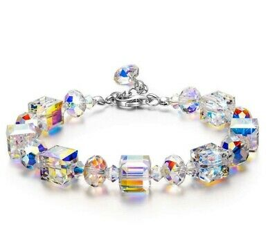 Luxury Women Crystal Stretch Bracelet 18K White Gold Adjustable Beaded Bangle