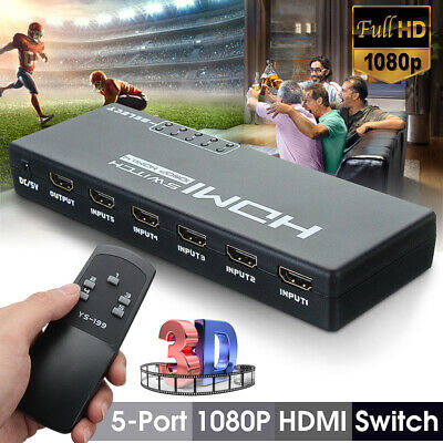 5 Port 3D 1080p 4K HDMI Switch Switcher Selector Splitter Hub Adapter + Remote