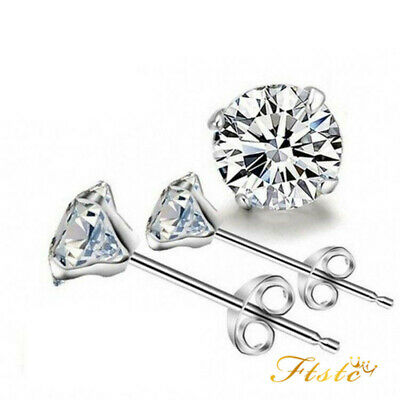 925 Sterling Silver Cubic Zirconia CZ Small Round Stud Earrings 3mm