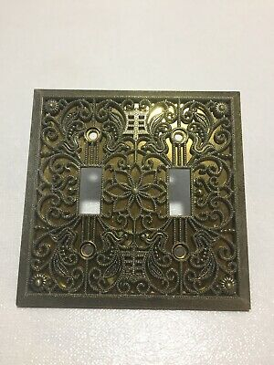Vintage Ornate Filigree Brass Double Light Switch Wall Plate Cover