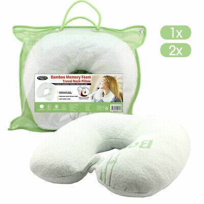 Neck Pillow Memory Foam Travel Cushion Easy Wash Relieve Pressure Plane Bamboo