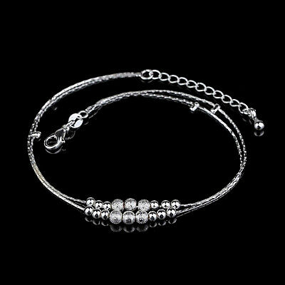 Ankle Bracelet Silver Gold Plated Anklet Foot Chain Beach Beads Jewellery UK