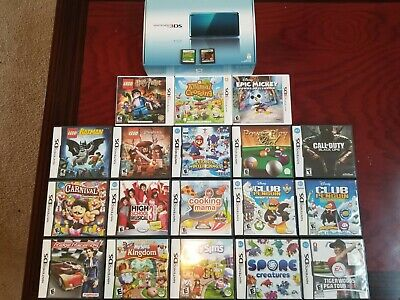 Complete in Box Nintendo 3DS Original Aqua Blue Handheld 3DS Bundle 20 Games