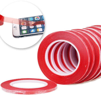 50Mx3 5 8 10mm Double Sided Super Sticky Clear Tape Red Strong Craft DIY Roll