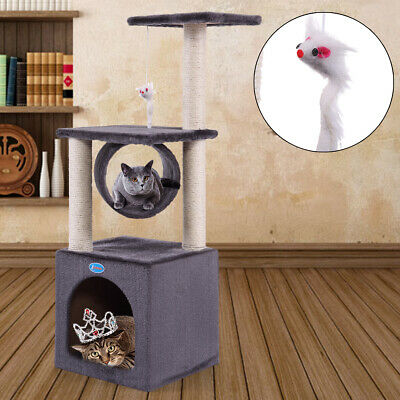 "36"" Cat Tree Tower Condo Tunnel W/Scratch Posts Pet Play House  with Toy Mouse"
