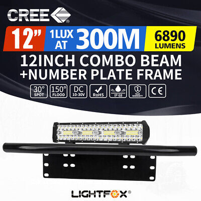 12INCH CREE LED Light Bar SPOT FLOOD Work Driving Lights 23'' Number Plate Frame